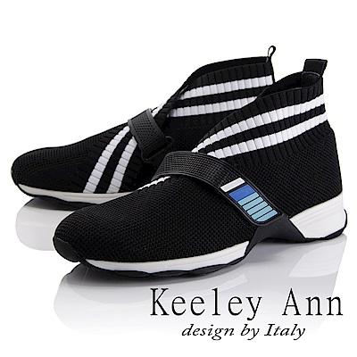 Keeley Ann 率性街頭~韓版橫條紋透氣休閒鞋(黑色-Asin系列)