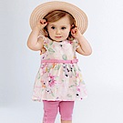 Dave Bella 白底粉色印花無袖上衣+粉色短褲套裝2件組