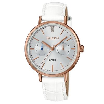 SHEEN粉嫩色系現代簡約風格指針腕錶(SHE-3054PGL-7)白34mm