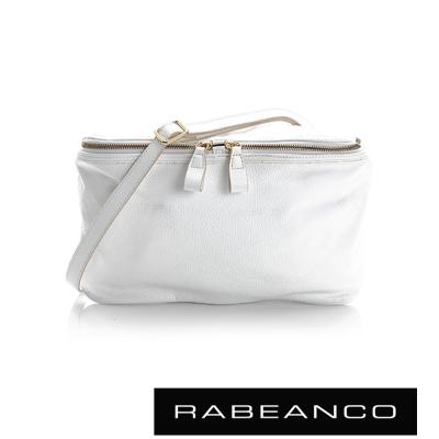 RABEANCO-迷時尚系列荔枝紋牛皮立體三角包-白