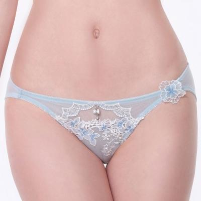 LADY 花卉遐想系列 低腰三角內褲(冰晶藍)