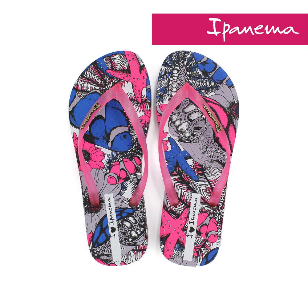 IPANEMA 女 熱帶動物園夾腳拖鞋-桃色/藍色