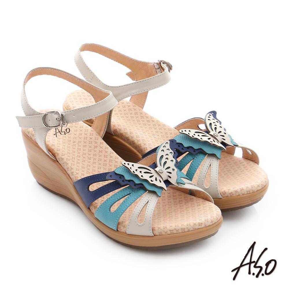 A.S.O 挺麗氣墊 真皮雙色蝴蝶環釦氣墊楔型涼拖鞋 藍