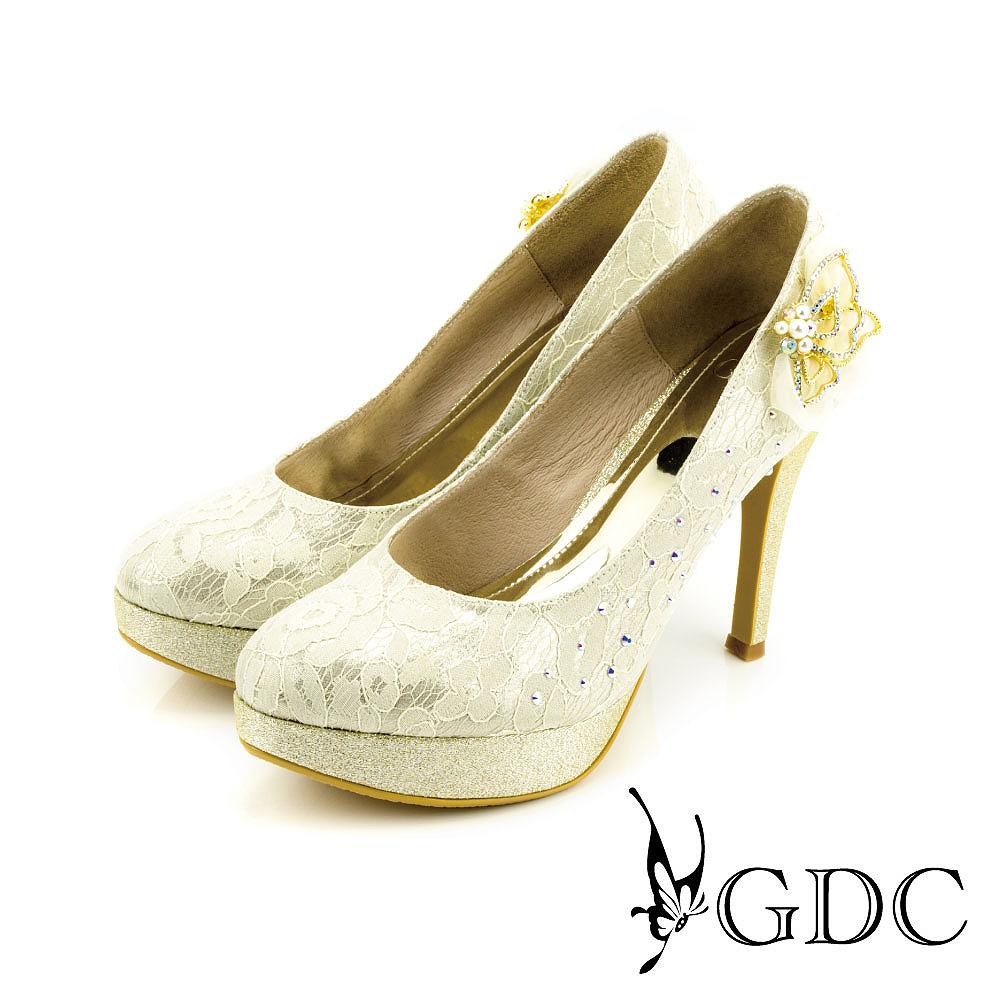 GDC-幸福唯美蕾絲水鑽花朵立體蝴蝶超高跟鞋(婚鞋)-金色