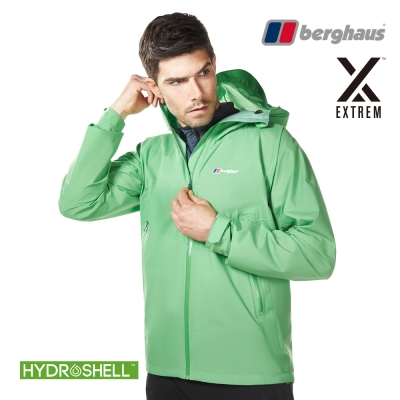 【Berghaus貝豪斯】男款HS防水透氣連帽外套H22MV5青綠