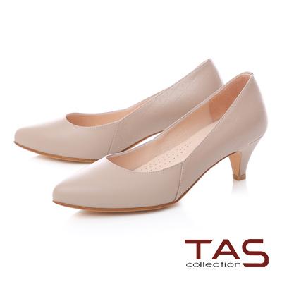 TAS質感鑽石壓紋拼接高跟鞋-輕裸膚