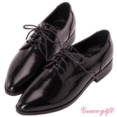 Grace gift-簡約尖頭綁帶牛津鞋 黑
