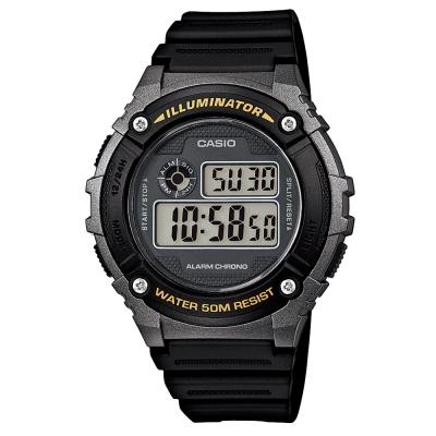 CASIO 元氣數位美學實用必備休閒錶(W-216H-1B)-黑x銀框/43mm
