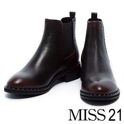 踝靴-MISS-21-復古輕拋擦色粗跟踝靴-棗