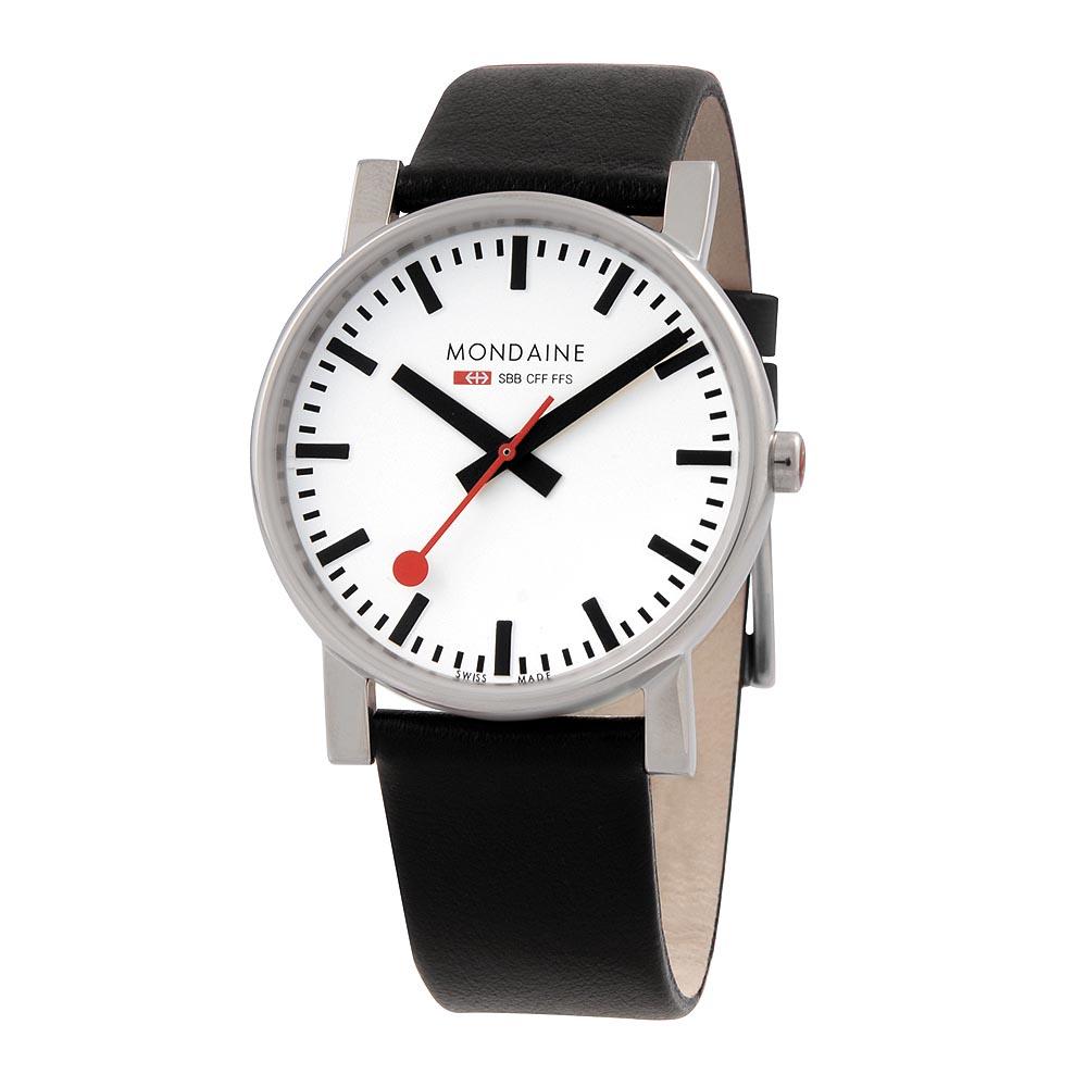 Mondaine 瑞士國鐵經典時尚腕錶-黑/38mm