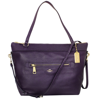 COACH深紫全皮金字飾牌前拉鍊袋肩-斜背托特包