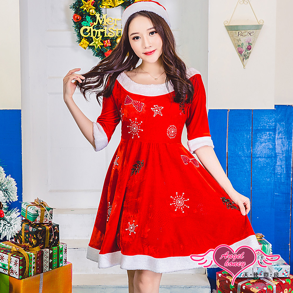 角色扮演 閃爍精靈 聖誕連身裙派對表演服(紅F) AngelHoney天使霓裳
