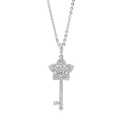 SWAROVSKI 施華洛世奇 璀璨晶鑽花朵鑰匙造型銀色項鍊