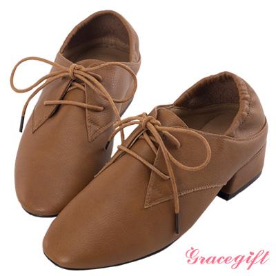 Grace gift-2way後鬆緊牛津綁帶跟鞋 棕