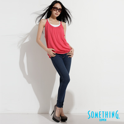 SOMETHING-極致美腿-針織超彈性窄直筒褲-女款-拔淺藍