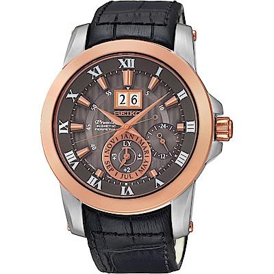 SEIKO Premier羅馬人動電能萬年曆腕錶SNP114J2-灰x玫瑰金42mm