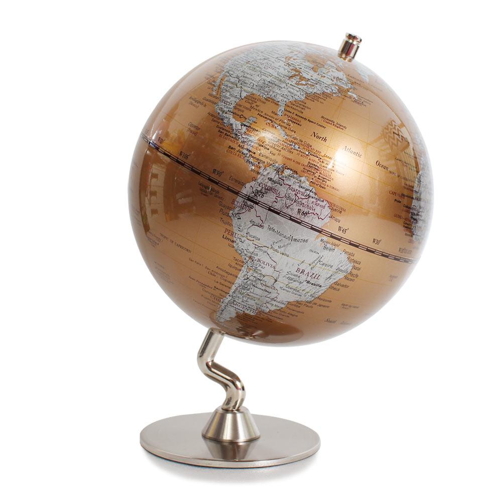 SkyGlobe 5吋七彩金色金屬底座地球儀(英文版)