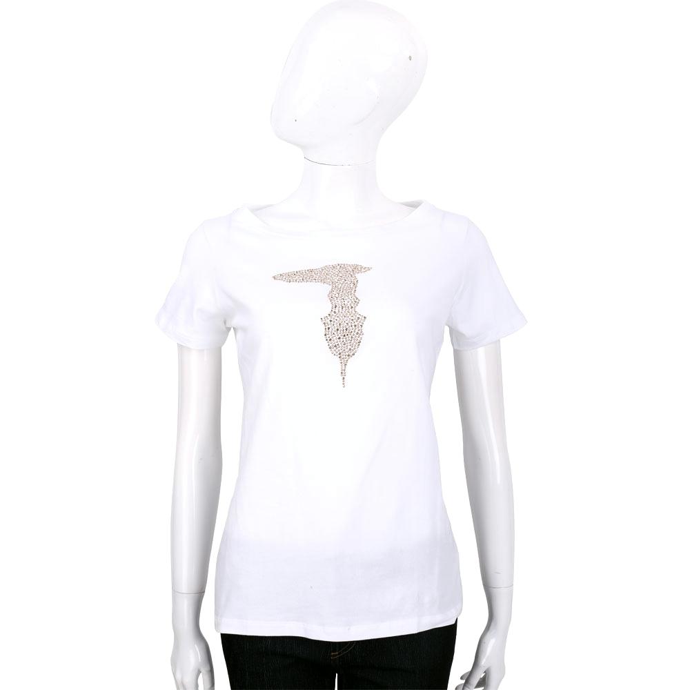TRUSSARDI 白色品牌LOGO貼飾棉質短袖T恤