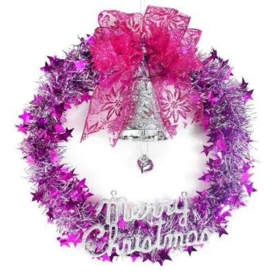 銀紫系金蔥聖誕星星花圈(14吋)