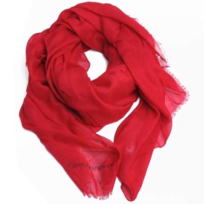 EMPORIO ARMANI 字母LOGO品牌圖騰高質感大絲巾(紅色)
