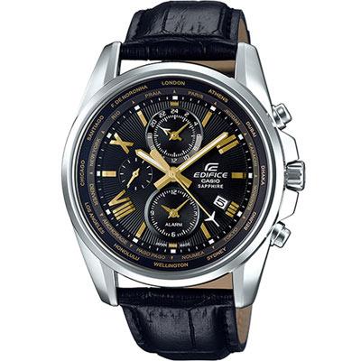 EDIFICE 世界時間指針錶(EFB-301JBL-1A)黑/44.5mm