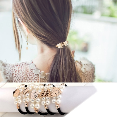 Hera 赫拉 雙排珍珠造型髮束/髮圈2入(隨機款)