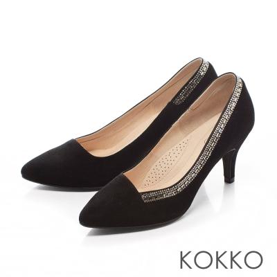 KOKKO-經典尖頭奢華鑽飾高跟鞋-光澤黑