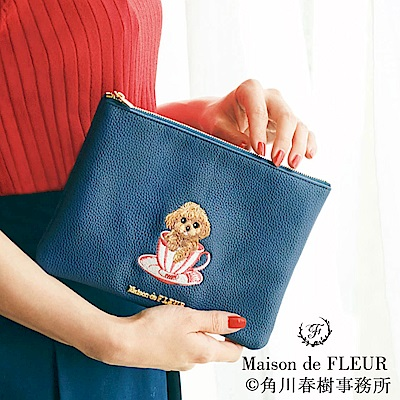 Maison de FLEUR 刺繡貴賓狗化妝包/隨身包
