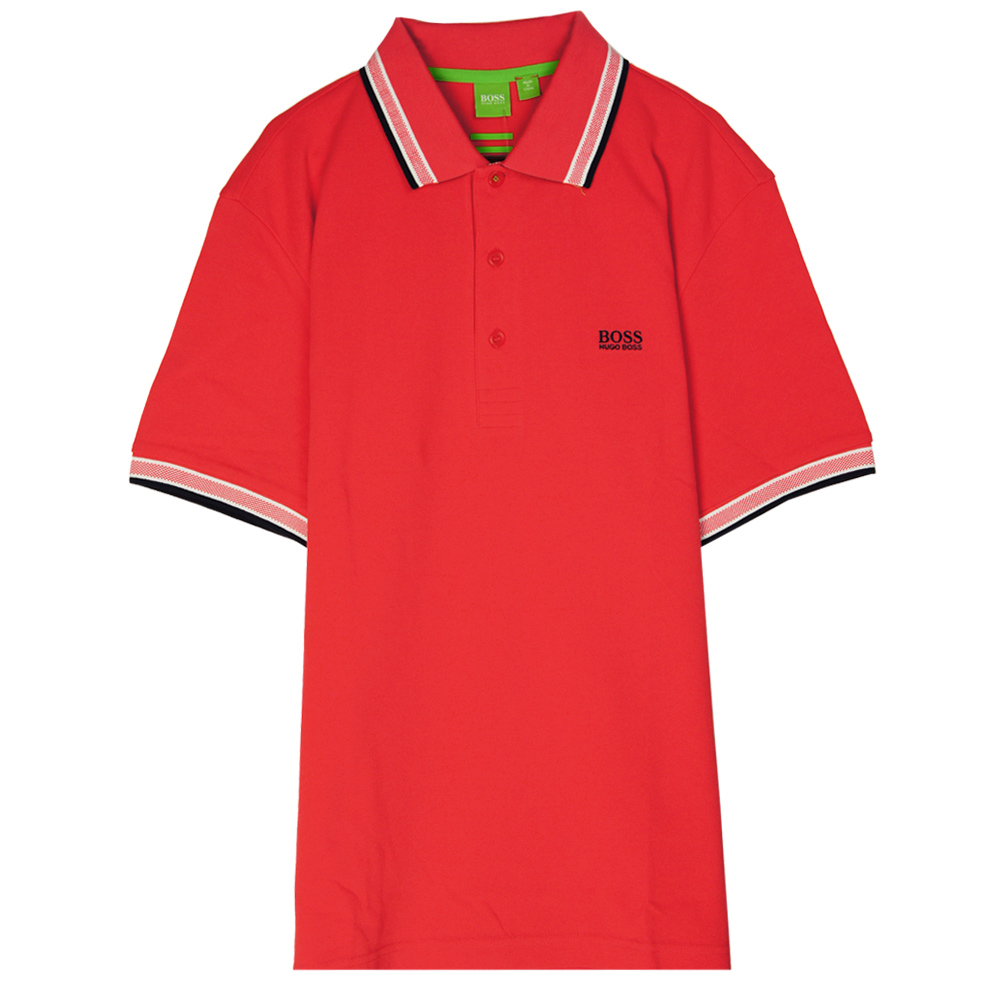 HUGO BOSS 綠標滾邊線素面POLO男衫(橘紅)