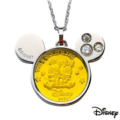 Disney迪士尼金飾 可愛兩小無猜黃金/白鋼項鍊