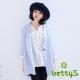 betty-s貝蒂思-七分袖西裝大衣-天藍色