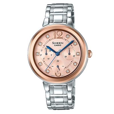SHEEN 華麗之美水晶時刻玫瑰金腕錶(SHE-3048SG-7A)-銀X玫瑰金面/34mm