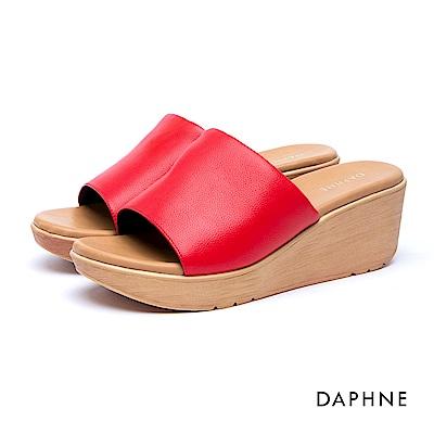 達芙妮DAPHNE 涼鞋-簡約復古寬版穆勒涼拖鞋-紅