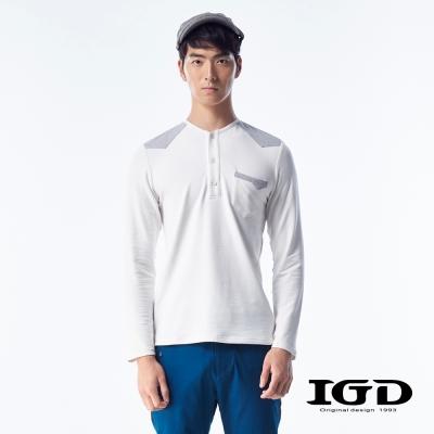 IGD英格麗-舒棉撞色肩剪接拼接開襟上衣-白色