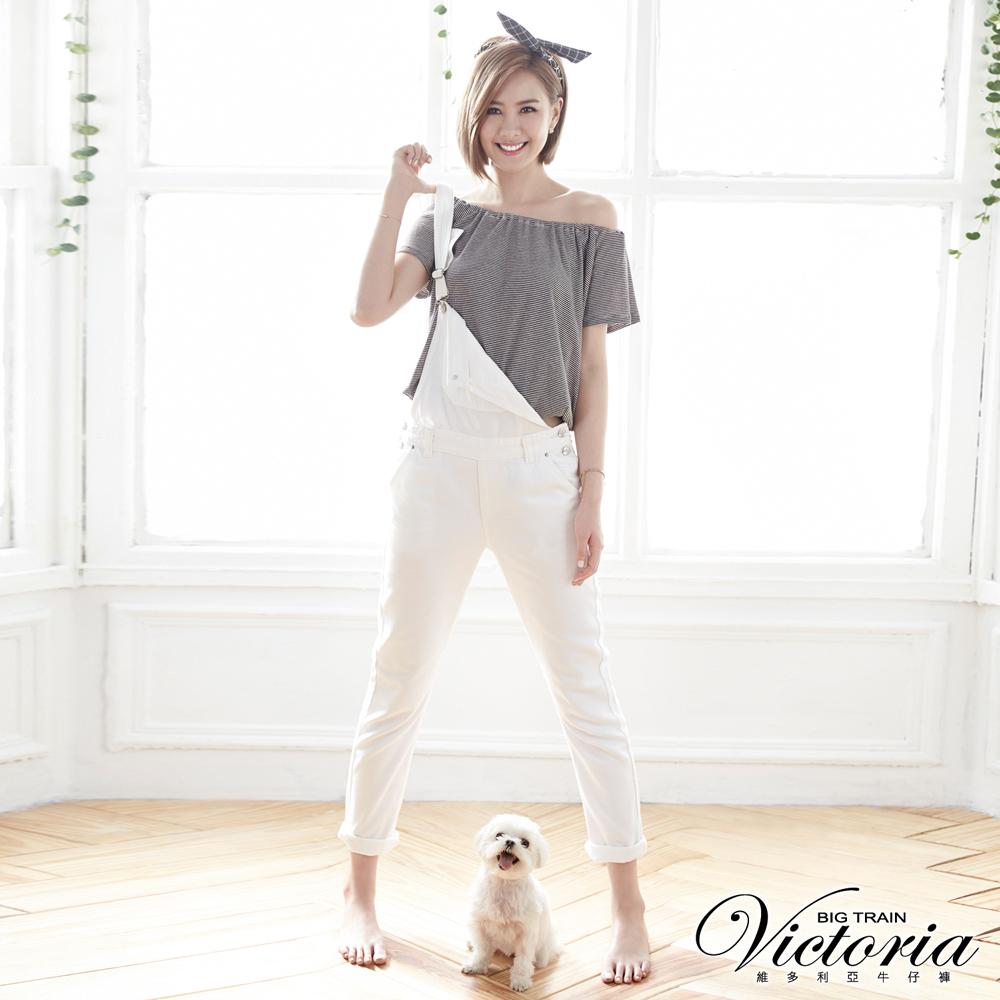 Victoria 天絲棉男友吊帶色褲-女-白色