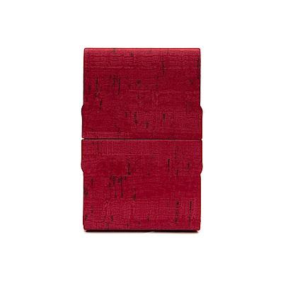 FEDON 1919 優雅木紋皮面雙開名片夾-紅