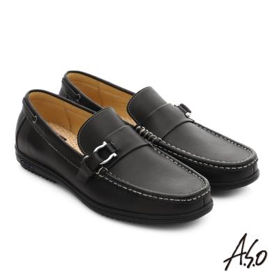 A.S.O 輕量抗震 都會牛皮直套式休閒皮鞋 黑色