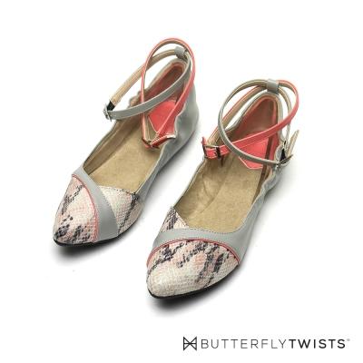 BUTTERFLY TWISTS-踝帶設計記憶軟墊平底鞋-灰