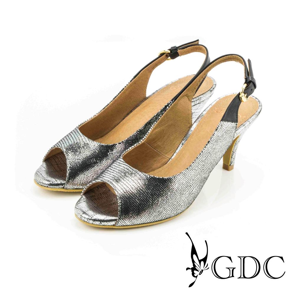 GDC-都會時尚扣帶真皮高跟魚口涼鞋-槍灰色