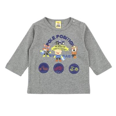 愛的世界-MYBABY-純棉肩扣越野賽印圖長袖上衣-8-10歲