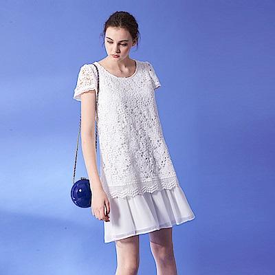 優雅浪漫鏤空3D蕾絲雕花拼接層次圓領雪紡短袖造型洋裝-白