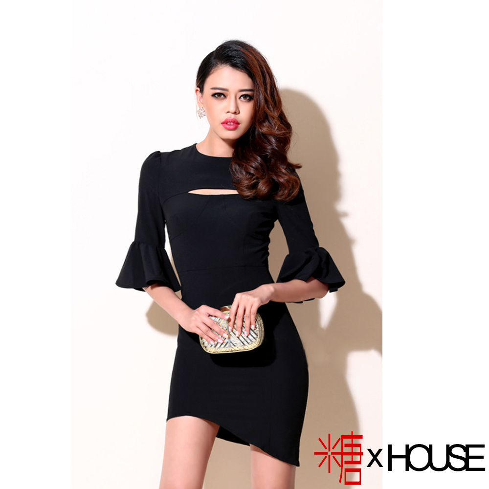 胸前縷空喇叭袖不規則連身裙 (黑色)-糖 x House