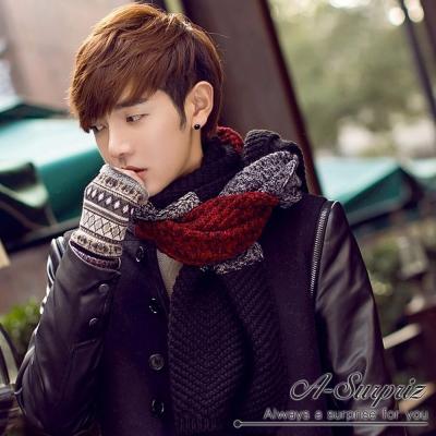 A-Surpriz 韓風雙色編織拼接加長厚圍巾(紅黑系)