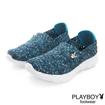 PLAYBOY 炫彩時尚 輕量編織休閒便鞋-藍(女)
