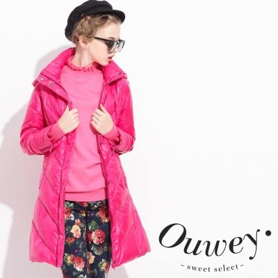 OUWEY歐薇-修身連帽羽絨外套-共2色