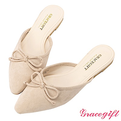 Grace gift-絨布蝴蝶結尖頭平底穆勒鞋 裸