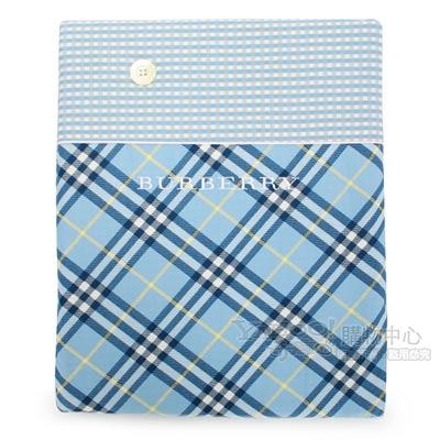 BURBERRY 刺繡LOGO斜格紋雙色單人被套-水藍