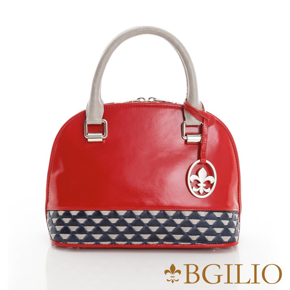 【義大利BGilio】蜡感裂紋牛皮雙色精品手提包-紅1944.003-01