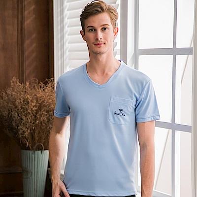 Valentino Rudy范倫鐵諾.路迪-透氣機能V領T恤衫-淺藍