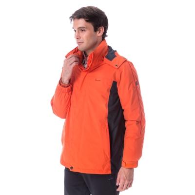 【hilltop山頂鳥】男款GoreTex兩件式防水羽絨拆袖短大衣F22MT2橘